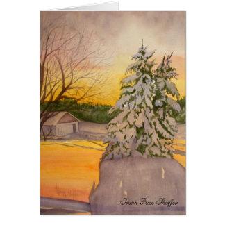 Salida del sol del invierno en la tarjeta de nota