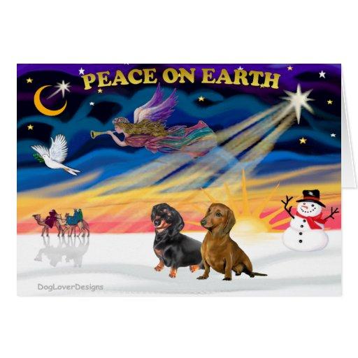 Salida del sol del navidad - 2 Dachshunds (negro + Tarjeta De Felicitación