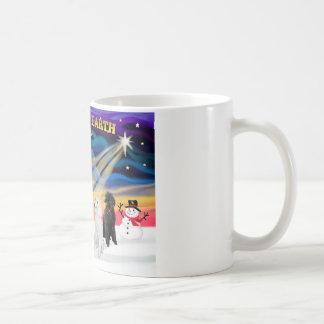 Salida del sol del navidad - caniches (estándar 2) taza de café