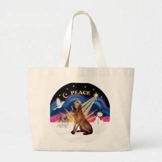 Salida del sol del navidad - sabueso 1 bolsas lienzo