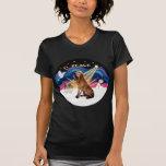 Salida del sol del navidad - sabueso 1 camisetas