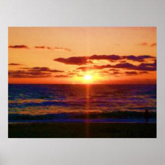 Salida del sol del océano impresiones