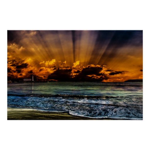 Salida del sol del océano póster