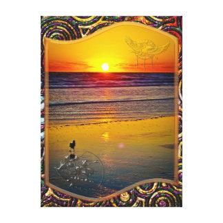 Salida del sol del océano reflejada en arte valien impresión en lona estirada