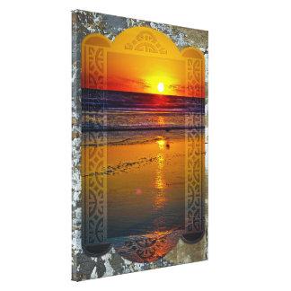 Salida del sol del océano reflejada en diseño impresiones de lienzo