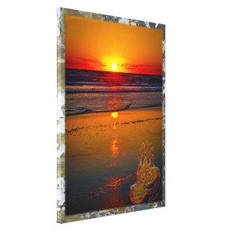 Salida del sol del océano reflejada en la fruta impresión en tela