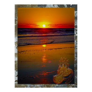 Salida del sol del océano reflejada en la fruta tr póster
