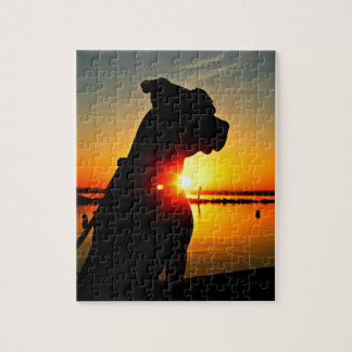 Salida del sol del pitbull rompecabeza con fotos