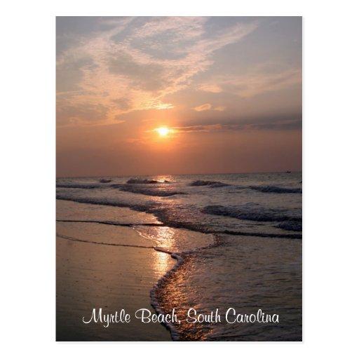Salida del sol del SC de Myrtle Beach sobre la pos Tarjetas Postales