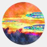 Salida del sol del UFO Etiquetas Redondas