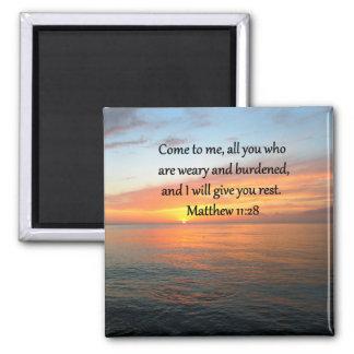 SALIDA DEL SOL DEL VERSO DE LA ESCRITURA DEL 11:28 IMÁN CUADRADO