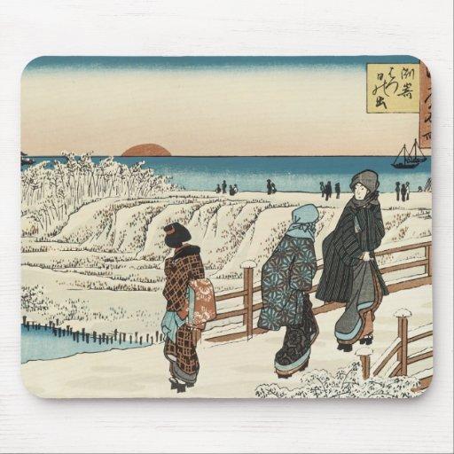 Salida del sol el el día de Años Nuevos, Hiroshige Tapete De Ratones