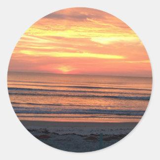 Salida del sol en Daytona Beach, FL Pegatina Redonda