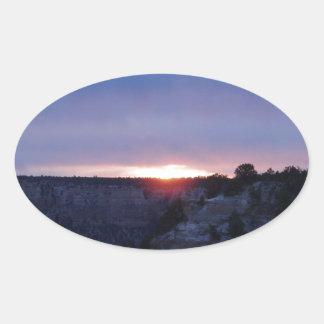 Salida del sol en el Gran Cañón Pegatina Ovalada