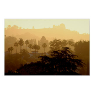 Salida del sol en el Hollywood Hills Posters