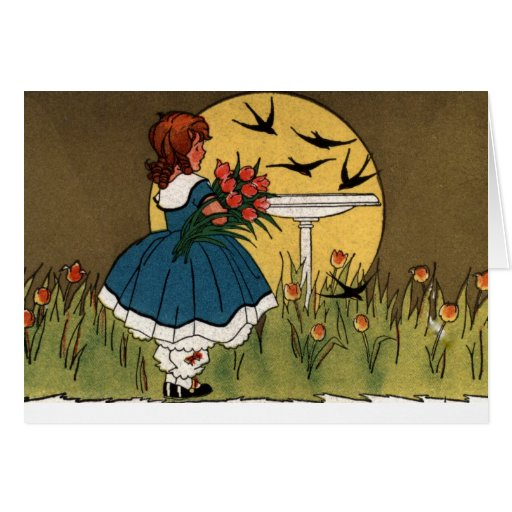 Salida del sol en el jardín del tulipán felicitación