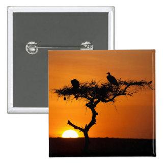 Salida del sol en el Masai Mara, Kenia Chapa Cuadrada 5 Cm