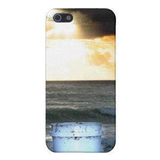 Salida del sol en el naranja de la playa con el cu iPhone 5 funda