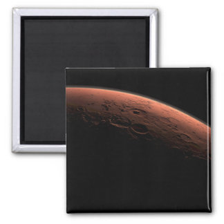 Salida del sol en el planeta Marte del cráter del  Imán