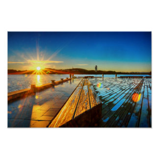Salida del sol en el poster del lago