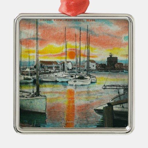 Salida del sol en el puerto adorno navideño cuadrado de metal