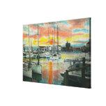 Salida del sol en el puerto impresión en lienzo