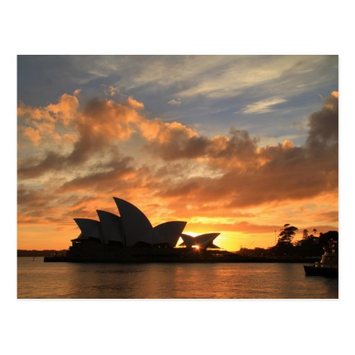 Salida del sol en el teatro de la ópera de Sydney Tarjeta Postal