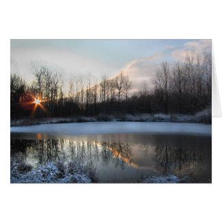 Salida del sol en la charca tarjeta de felicitación