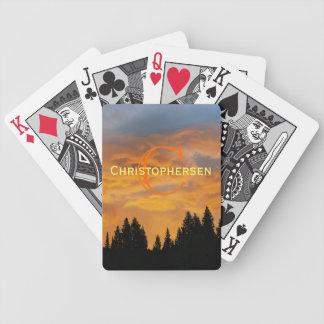 Salida del sol en la gama del río del oso baraja de cartas