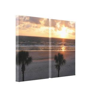 Salida del sol en la lona envuelta playa lienzo envuelto para galerias