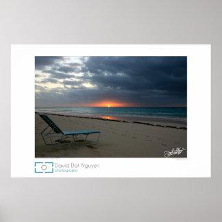 Salida del sol en la playa del codo, Bermudas Póster