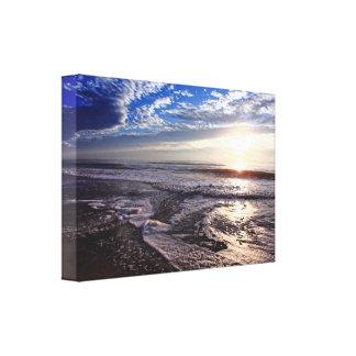 Salida del sol en la playa impresión en lienzo estirada
