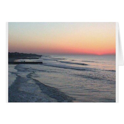salida del sol en la playa tarjeta de felicitación