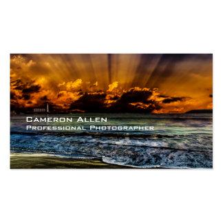 Salida del sol en la playa tarjetas de visita