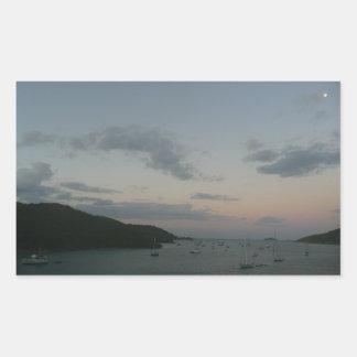 Salida del sol en las Islas Vírgenes de St Thomas Pegatina Rectangular