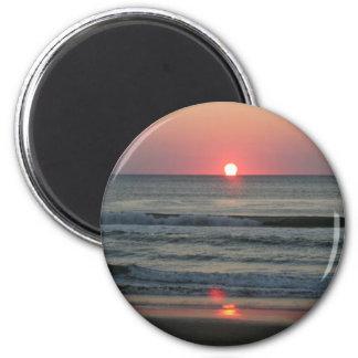 Salida del sol en Virginia Beach Imán Redondo 5 Cm