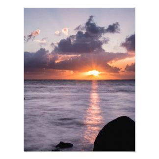 Salida del sol hawaiana de la playa membretes personalizados