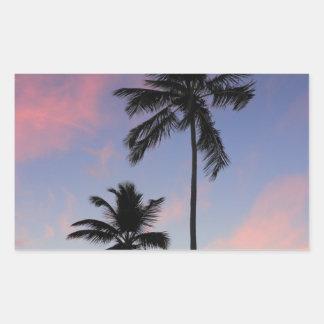 Salida del sol hermosa de la costa pegatina rectangular