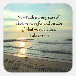 SALIDA DEL SOL HERMOSA DEL 11:1 DE LOS HEBREOS PEGATINA CUADRADA