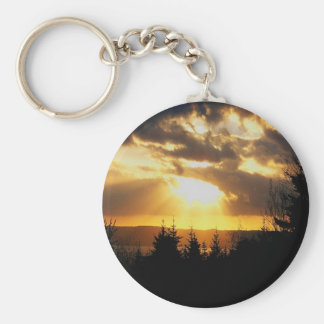 Salida del sol hermosa llavero redondo tipo pin