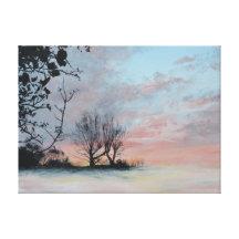 Salida del sol hivernal impresiones de lienzo