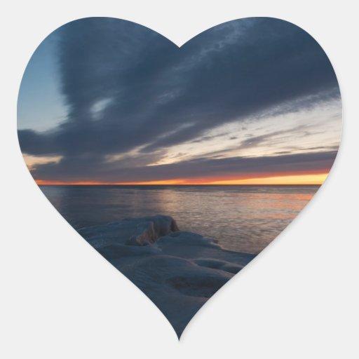 Salida del sol Milwaukee, Wisconsin de North Point Pegatina En Forma De Corazón