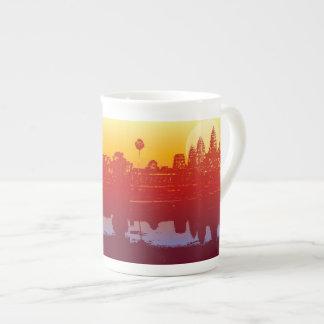 Salida del sol moderna del arte de la silueta de taza de porcelana