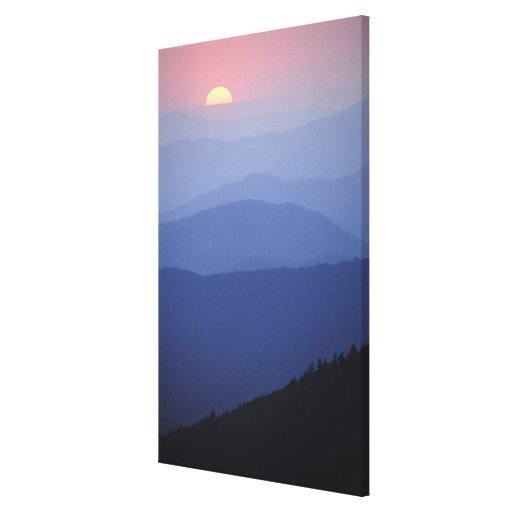 Salida del sol, montañas apalaches meridionales, g lona envuelta para galerías