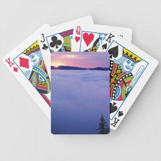 Salida del sol, montañas, mar de nubes baraja de cartas
