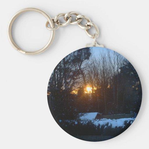Salida del sol Nevado Llavero Redondo Tipo Pin