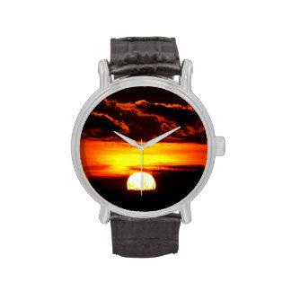 Salida del sol o puesta del sol relojes de pulsera