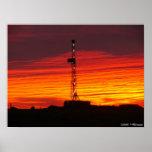 Salida del sol occidental del campo petrolífero de impresiones