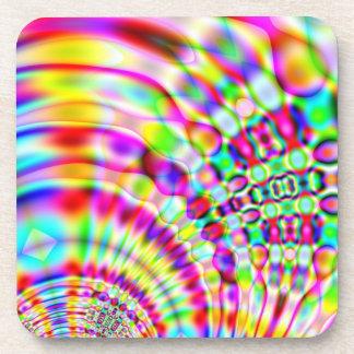 Salida del sol psicodélica del hippy del arco iris posavasos de bebida