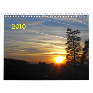Salida del sol, puesta del sol, 2010 calendarios de pared